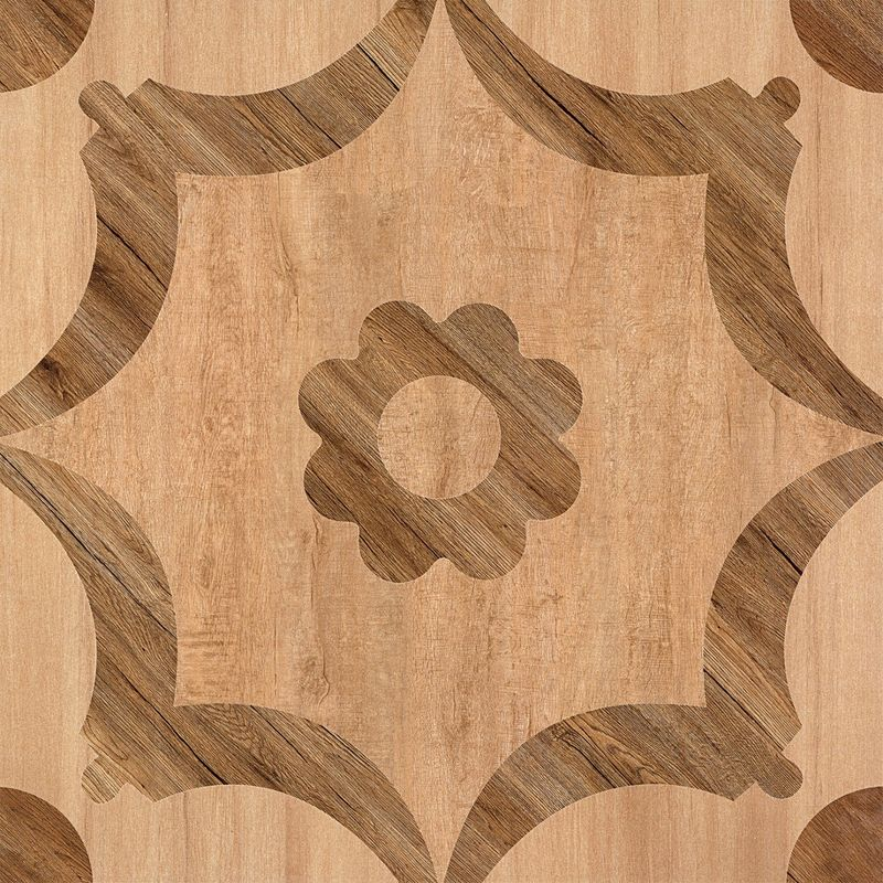 Matte Finish  600*600 Rustic Wood Look Ceramic Tile  Flower Design In Bathroom Floor